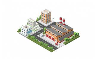 小区规划立体图矢量设计