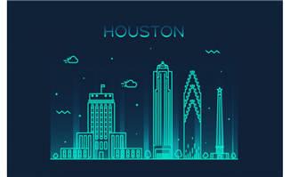 休斯顿城市标志建筑插画