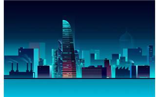 炫彩城市夜景矢量素材图片下载