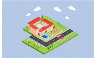 学校立体建筑模型素材设计
