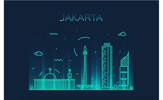 雅加达建筑矢量插画图片