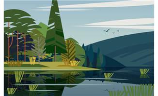 野外风景树林湖泊矢量素材