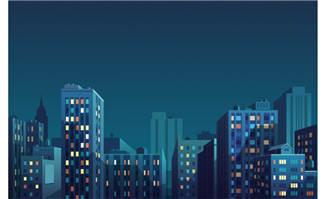 夜晚安静的城市建筑设计