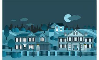 夜晚建筑矢量素材设计插图