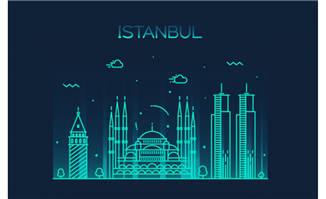 伊斯坦布尔城市建筑插画图片