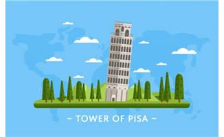 意大利比萨城大教堂独立式钟楼素材矢量