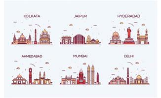 印度城市插画彩色建筑地标mbe矢量插画