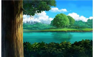 大树下看远处的湖泊手绘