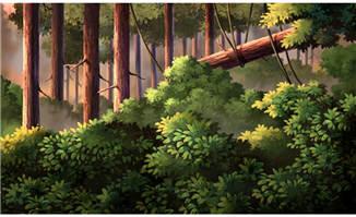 原始森林深处茂密的树林