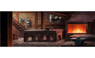 古代战争室内烤炉动画背