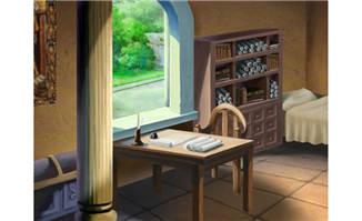 手绘书桌办公地方动画俯