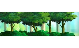 路边的森林树林手绘动画