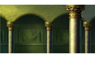 手绘罗马柱房屋建筑背景
