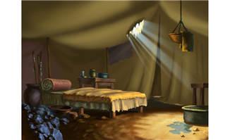 阳光打进帐篷室内的动画