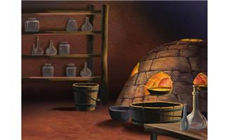 手绘木桶室内各种容器造型动画背景设计