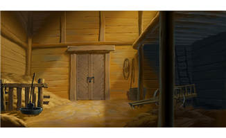 木质结构粮草仓库内景动画背景设计