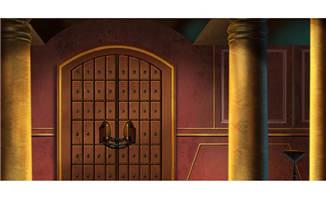 欧式建筑石头柱子与铁门动画背景设计