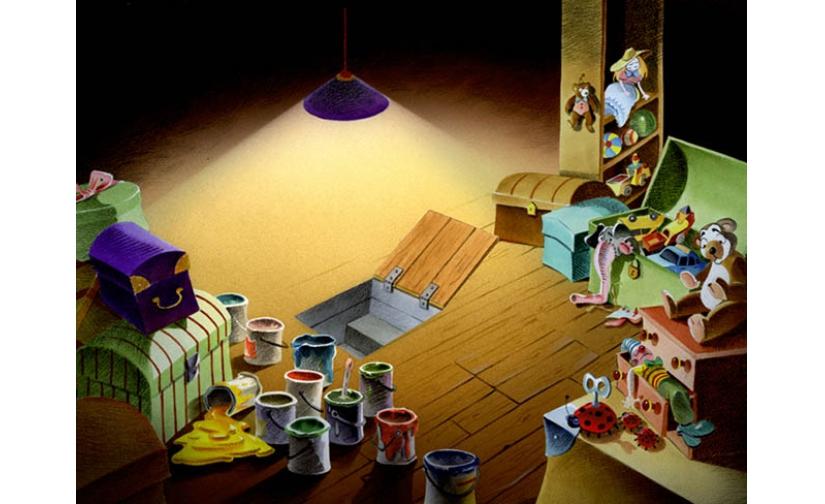 画家的室内各种颜料桶动画背景设计