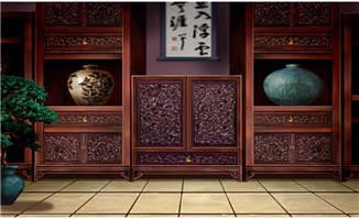 手绘中国风木柜雕刻红木家具场景设计