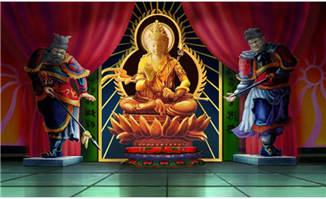 动画手绘室内观音菩萨佛像雕塑场景学习资料