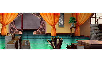 中国古代建筑物书房场景动画背景设计素材