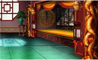 中国古代皇帝睡觉床手绘动画背景设计素材