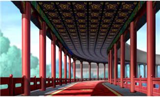 手绘中国古建筑宫廷走廊场景设计素材