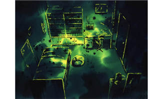 绿光幽灵感的室内场景动画背景设计