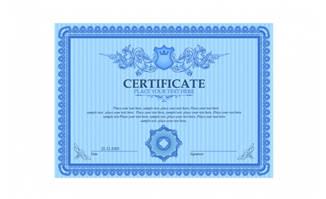 精美蓝色花纹证书设计矢量素材