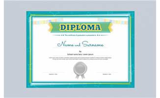精致可爱的卡通儿童获奖证书素材矢量
