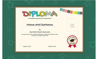 卡通儿童获奖证书素材矢量