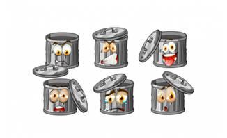卡通垃圾桶表情图片