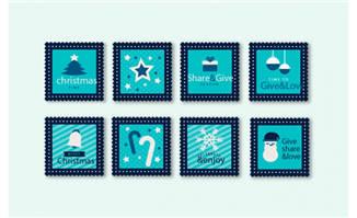 蓝色圣诞节邮票矢量素材