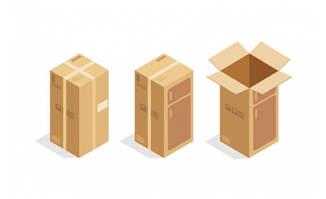 立体纸箱包装素材矢量