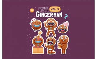 圣诞节可爱卡通饼干素材矢量