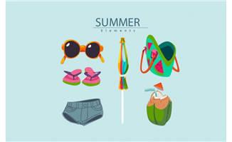 时尚夏季度假物品6款矢量素材