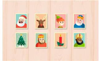 圣诞元素可爱邮票矢量素材