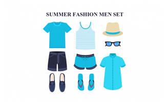 时尚夏季男士服饰矢量素材