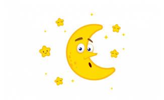 矢量卡通弯弯的月亮和星星