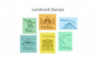 手绘旅游地标邮票矢量素材