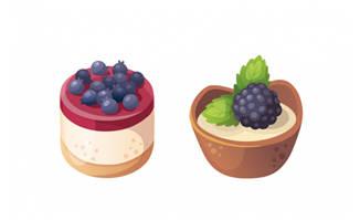 简约卡通蓝莓蛋糕甜点素