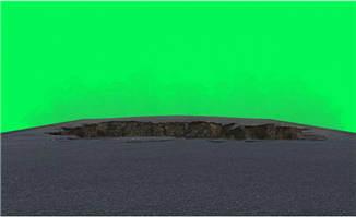 道路前方出现塌方动画特效绿幕视频素材