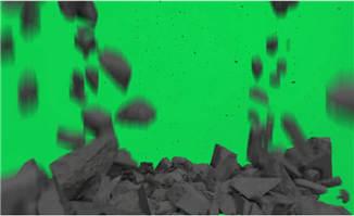 房屋倒塌特效动画视频绿