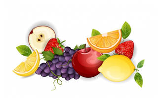精致水果矢量素材葡萄苹