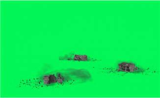 三块砖头掉地的动画特效视频素材
