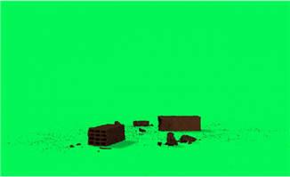 掉在地方砖块动画绿幕特效视频素材
