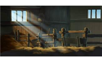 阳光打进室内牧场的草屋