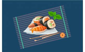 精选三文鱼寿司AI素材图片