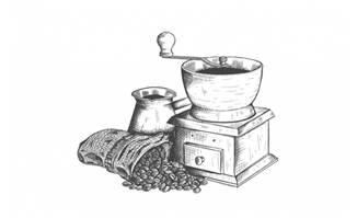 手绘研磨咖啡机矢量素材