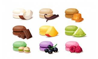 水果口味小蛋糕夹心饼干素材矢量